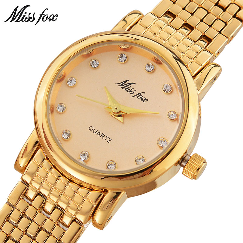 MISSFOX Miss Fox Fashion Quartz Watch mujeres 2018 Gold Luxury Ladies - Relojes para mujeres