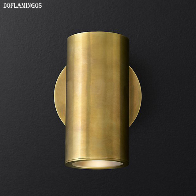 American Copper E27 LED wall lamp  modern simple personality style Nordic living room bedroom corridor Thicken brass wall lamp