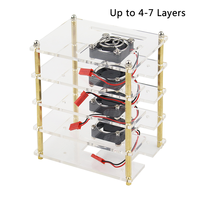 For Raspberry Pi 4 Acrylic Case Multi-layer Box Shell With CPU Fan Cooler Metal Cover For Raspberry Pi 3 Model B 3B Plus 2B