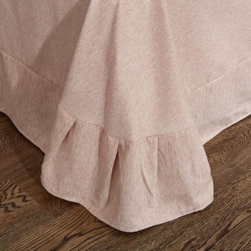 Embroideryluxury 4 pcs Fios tingidos de veludo de algodão conjuntos de cama queen size rei set capa de edredão saia da cama definir roupas de cama fronha - 2