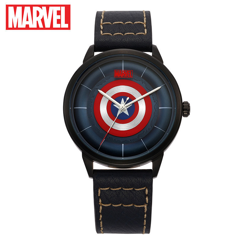 Marvel Avengers Captain America Men Leather Strap Quartz Watch Luxury Top Brand Disney Watches Man Steel Waterproof Sport Waches