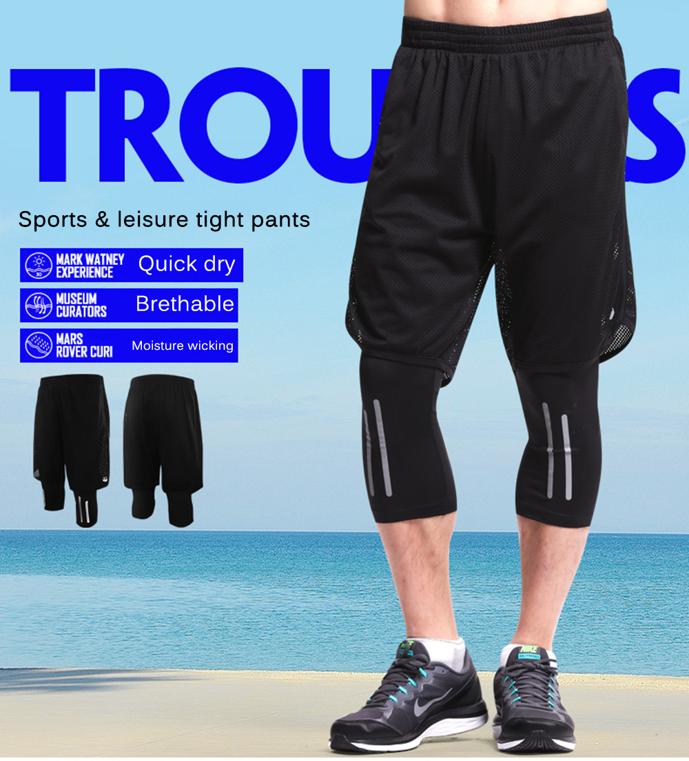 5887847640014 Leevy Quick Dry Fitness Tights Double Layer Men Compression Running  Leggings Men\`s GYM ...