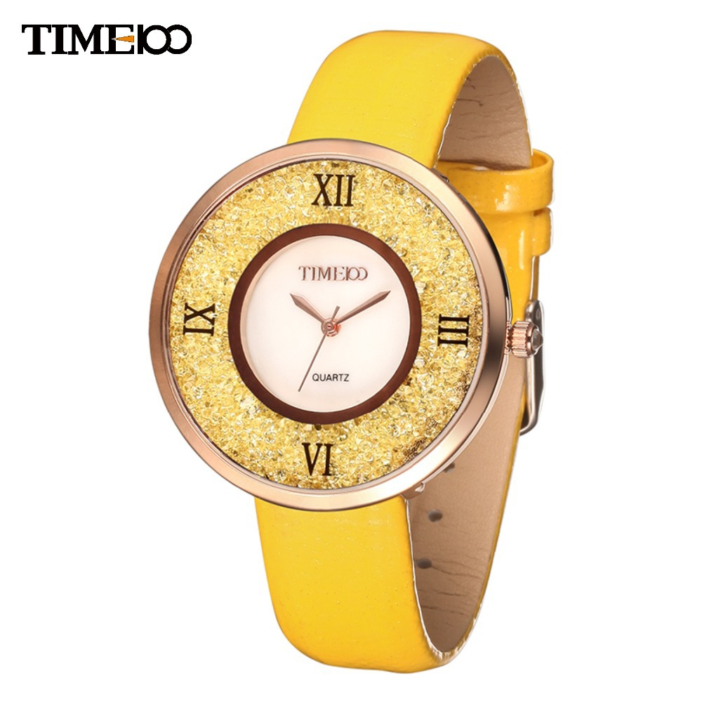 TIME100 Women's Quartz Watches Big Dial Shell Case Yellow Leather Strap Waterproof Ladies Wrist Watch For Women relogio feminino time100 vintage women s bracelet watch diamond shell dial copper plated strap ladies quartz watches for women relogio feminino