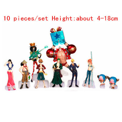 ФОТО 10 pieces / set  Size: 4 - 18 CM PVC plastic model one piece  action figures hobbies plush doll  --- np2020