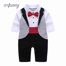 цены Baby Boys Clothes Spring Baby Boy Rompers Gentleman Roupas Bebes Infant Jumpsuits Newborn Pants Tuxedo Clothing Sets