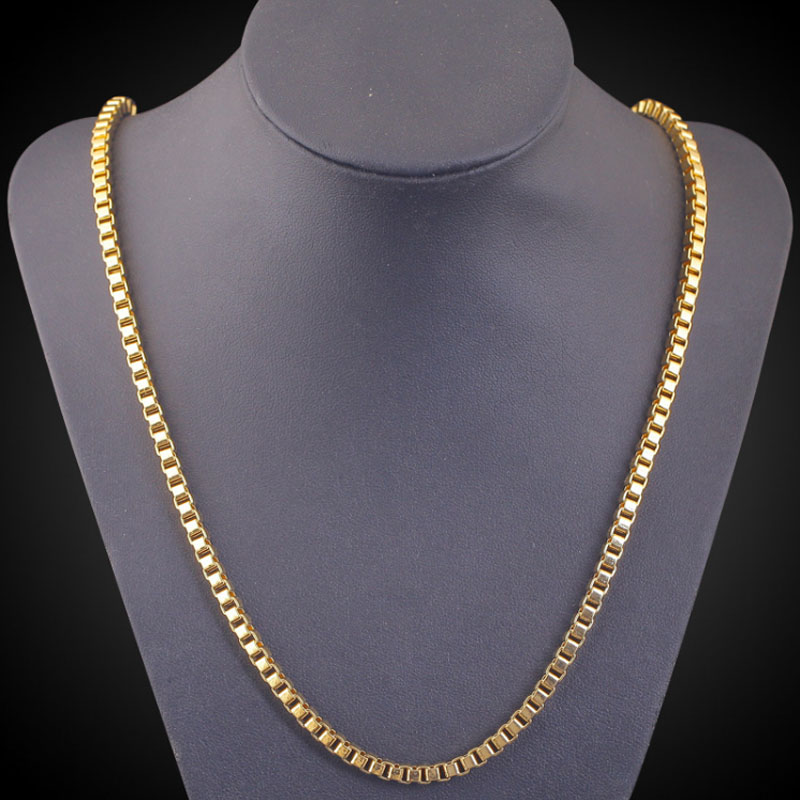 Unisex Yellow Gold Color Plain Box Chain Necklace Fashion Costume