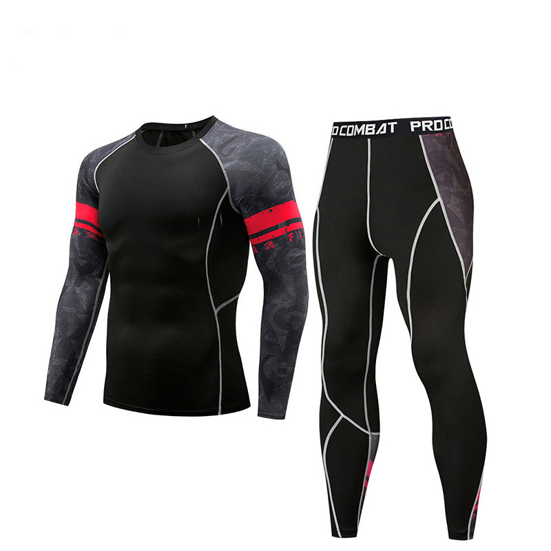 Men's Compressed Breathable Sweat Tights Jogging Sports Set Long Sleeve T-Shirts And Pants Gym Fitness Workout Tight Clothes 2 P