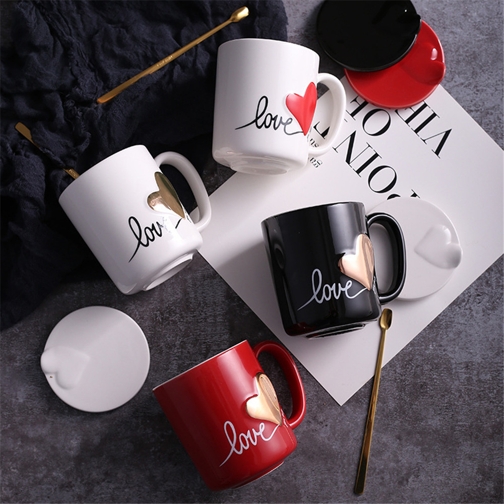 Romantic Couple Ceamic Coffee Mug with Lid Spoon Love Heart Pattern for Coffee Tea Home Office Gift for Lover Milk Mug Cup 400ML lid
