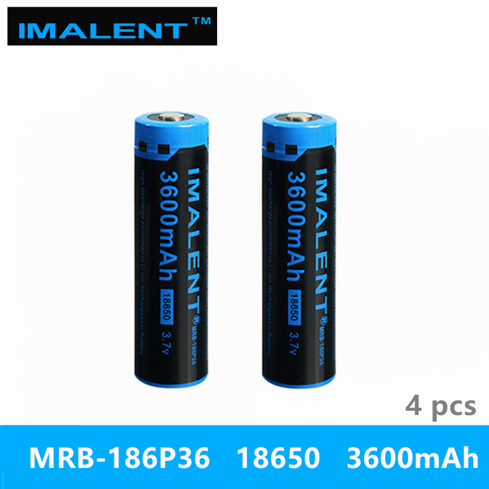 4pcs IMALENT 18650 3600mah MRB 186P36 3 7v li ion rechargeable battery high performance for high