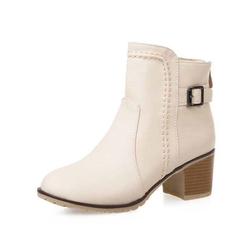 2016 Autumn Shoes Woman Ankle Boots PU Leather Casual Women Martin Motorcycle Back Zipper Mid Heel Botas Ladies High Heels