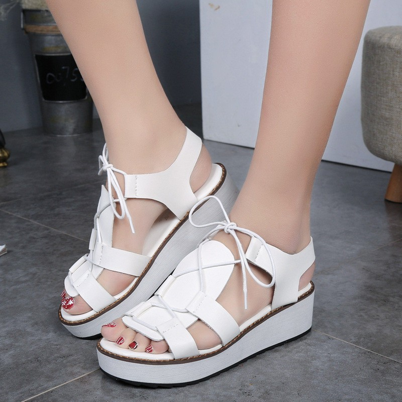 Hot Sale New Spring Summer Fashion Sandals Thick Soled Shoes Lace-up Black White Women sandals HSD08  (7)