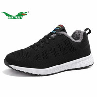 LANTI KAST Winter Women Sneakers Breathable Mesh Plush Inside Running Shoes For Girls Thermal Fur Comfortable