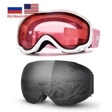 نظارات التزلج على الجليد قناع الثلج المحمول طبقات مزدوجة الثلوج على الجليد نظارات UV400 مكافحة الضباب حماية الثلوج نظارات الرجال النساء نظارات
