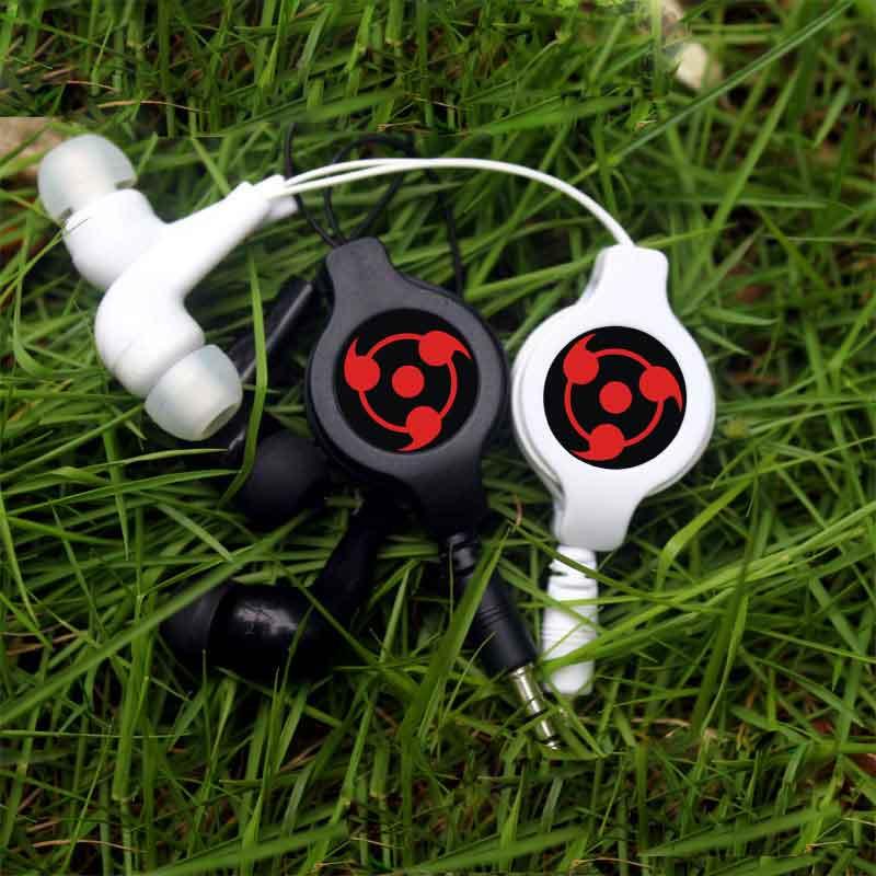 Anime Naruto Sharingan Évolutive Écouteur Rétractable Filaire Stéréo In-Ear Intra-auriculaires Écouteurs Musique Casque Pour Iphone Samsung Téléphone