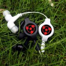 Anime Naruto Sharingan Scalable Earphone Retractable Wired Stereo In-ear Earbud Earphones Music Headset For Iphone Samsung Phone