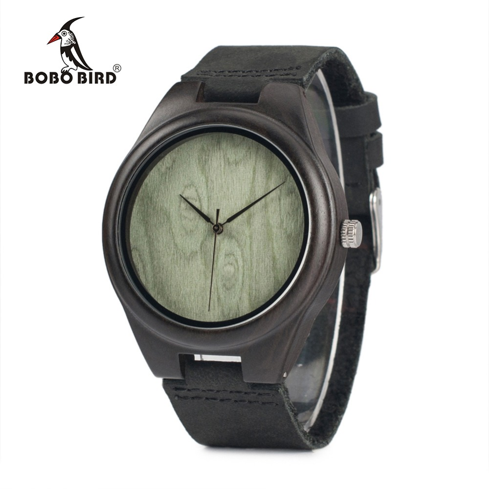 BOBO BIRD WF04 Classic Ebony Wooden Watches Green Wood Dial Face Quartz Watches for Men in wooden box bobo bird brand new wood sunglasses with wood box polarized for men and women beech wooden sun glasses cool oculos 2017