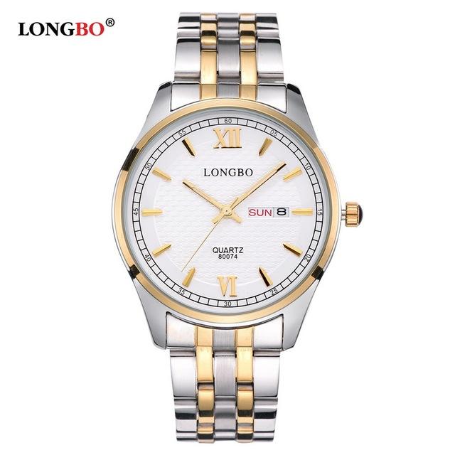 Longbo amantes pareja relojes hombres de lujo fecha día impermeable mujeres de oro de acero inoxidable reloj de pulsera de cuarzo montre homme 80074