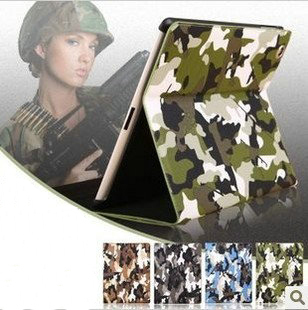 Camouflage pattern Leather case for ipad 3 / 2 military style CS luxury with wake up and sleep model hard cover for ipad 2