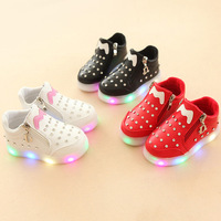 2018 European Zip High Quality Glitter Solid Baby Girls Boys Shoes Cool Casual LED Lighted Sneakers