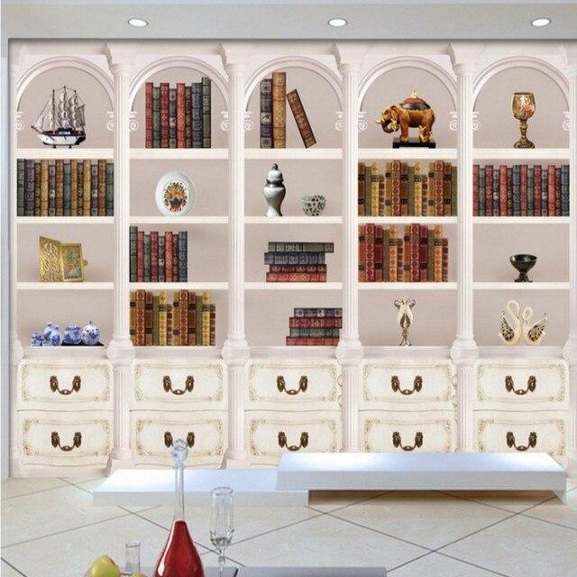 Wallpaper European Retro Hd Elegant Le Aristocratic White Bookcase Background Wall Mural Mall Bedroom