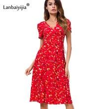 Lanbaiyijia Newest Short Puff Sleeve Summer Floral dress Sashes V-neck dress high waist Women Chiffon dress Size S M L