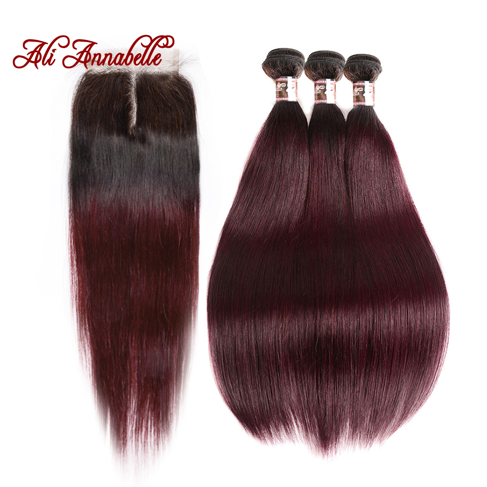 ALI ANNABELLE HAIR 1b 99j Ombre Human Hair Bundles with Closure Brazilian Straight Hair 3 Bundles