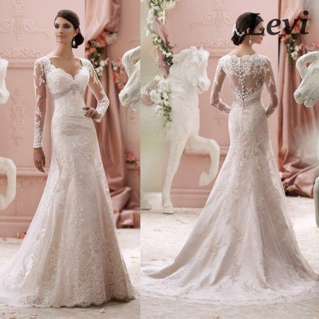 Vestidos de novia manga larga sirena