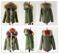 YOUMIGUE Winter Raccoon Fur Collar Women's Fox fur lining Jacket Fashion Parka Slim Women Coat real fur parka DHL Free Shipping