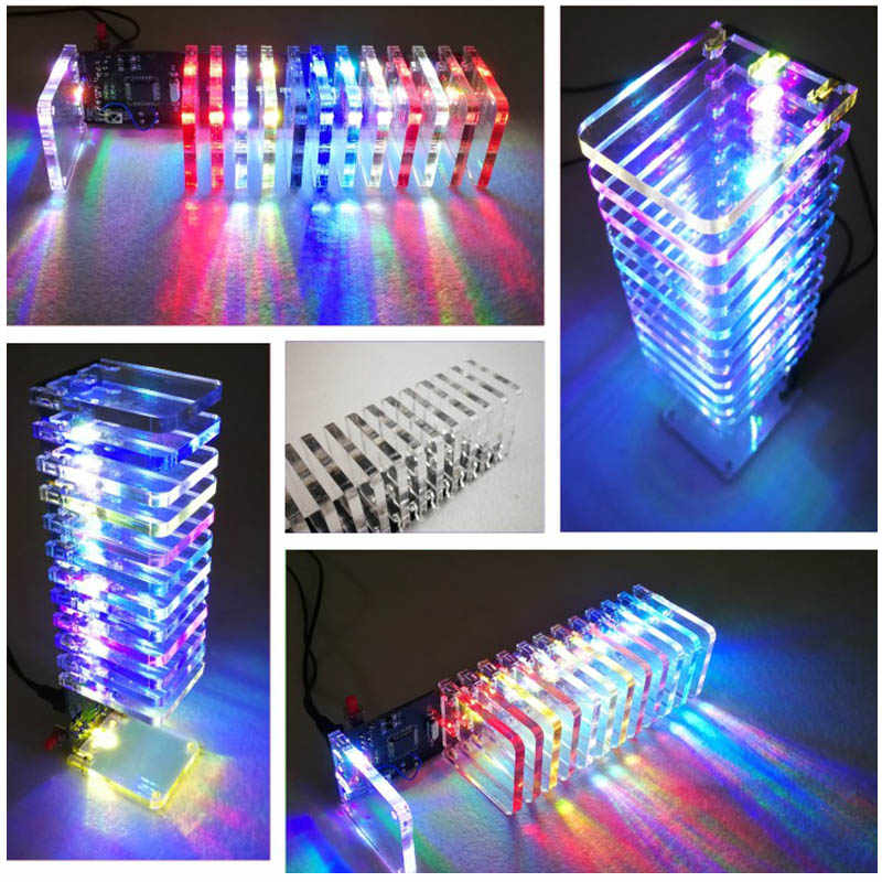 Advertising Lights Alert Mising 8x8x8 512 Led Fog Lamp Diy 3d Led Light Cube Kit Advertising Lamp With Accessory Protective Box For Display Advertisement Commercial Lighting