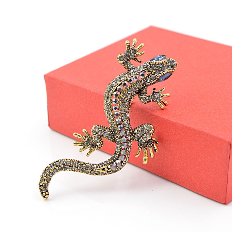 CINDY XIANG 2 Colors Available Rhinestone Lizard Brooches Vintage Animal Brooch Pin Full Rhinestone Inlay Suit Accessories Gift 6