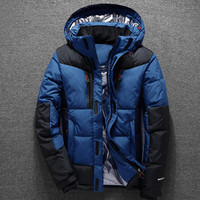 New Thicken Winter Hooded Duck Down Jacket Men Clothing White Duck Down Coat Male Top Quality