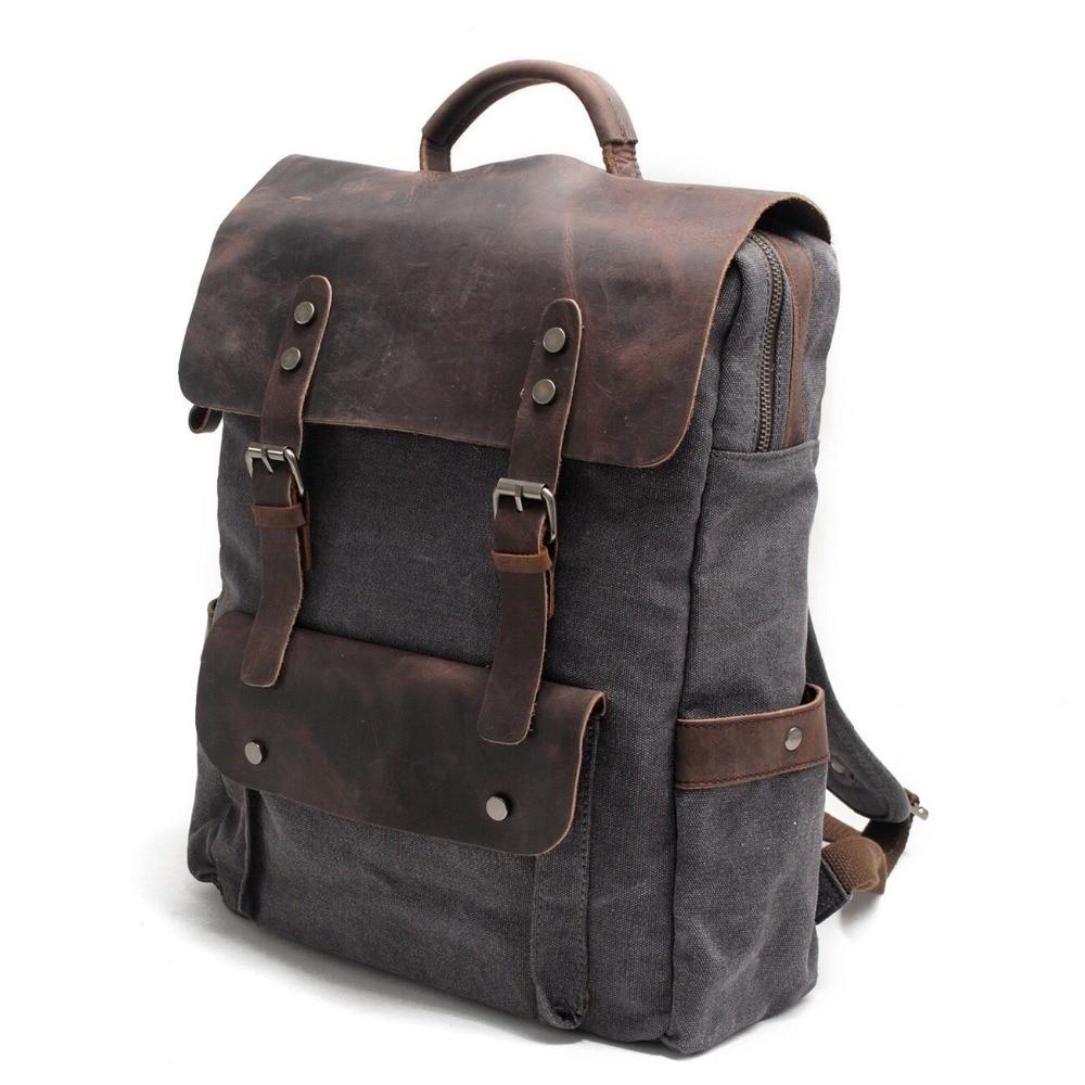 Men Canvas Backpack School Bags Laptop Backpack Male Vintage Military Crazy Horse Leather Shoulder Travel Bag Backpack Schoolbag #2