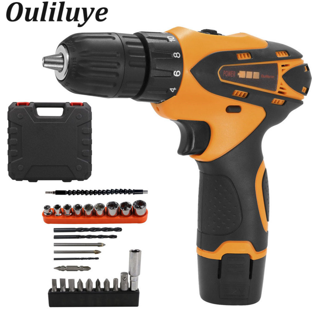 12Volt Mini Cordless Wireless Drill Power Tools Electric Screwdriver Torque Drill Batteries 10mm Power Driver Plastic Box/Carton