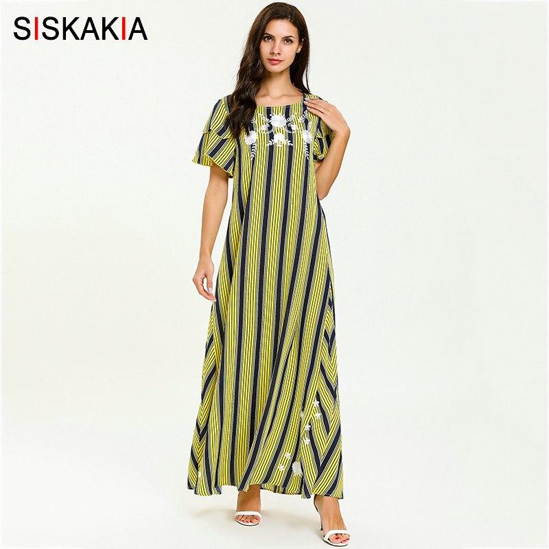 Siskakia Summer 2019 Women Long Dress Round Neck Ruffles Short Sleeve Design Maxi Dresses Yellow Stripe