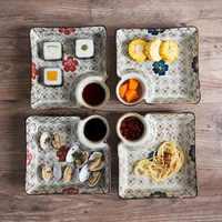 OTHERHOUSE Ceramic Dish Dumplings Bowl Sushi Plate with Sauce Dish Kitchen Tableware Dinner Plates Dessert Cake Fruit Plate Tray
