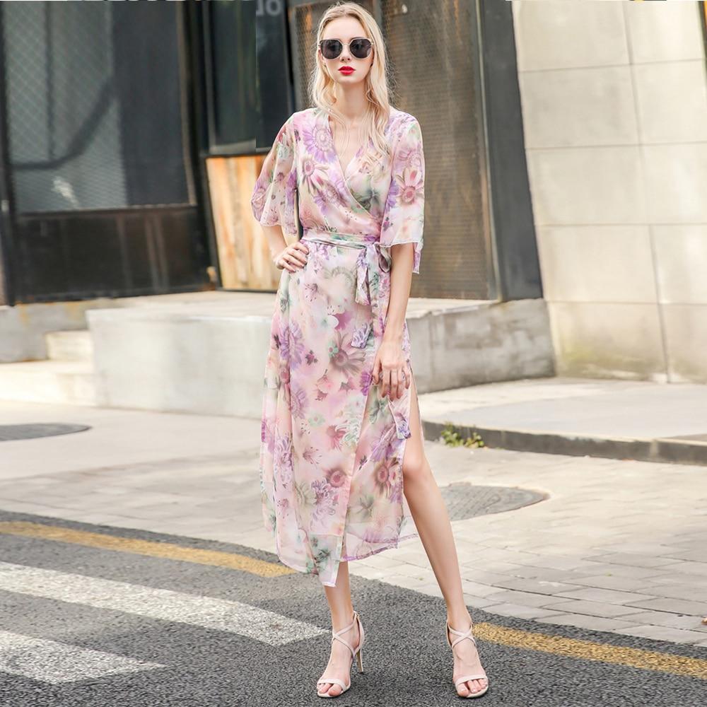 Haute qualité 2018 Sexy femmes demi manches imprimé Floral Kimono Wrap Maxi robe avec fente bohème chic femmes robes robes