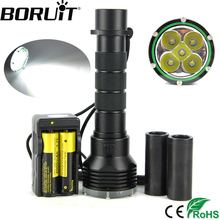 Boruit 10000LM Strong Bright Diving 100M Flashlights 5XML L2 LED Scube Torch 18650/26650 Battery Outdoor Camping Lamp Lantern