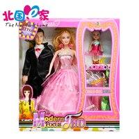 Familia 3 Personas Muñecas Trajes 1 Mamá/1 Papá/1 Poco Kelly Muñeca de la muchacha Regalos Juguetes familia feliz para Barbies muñeca de La Boda Vestido de Diseño