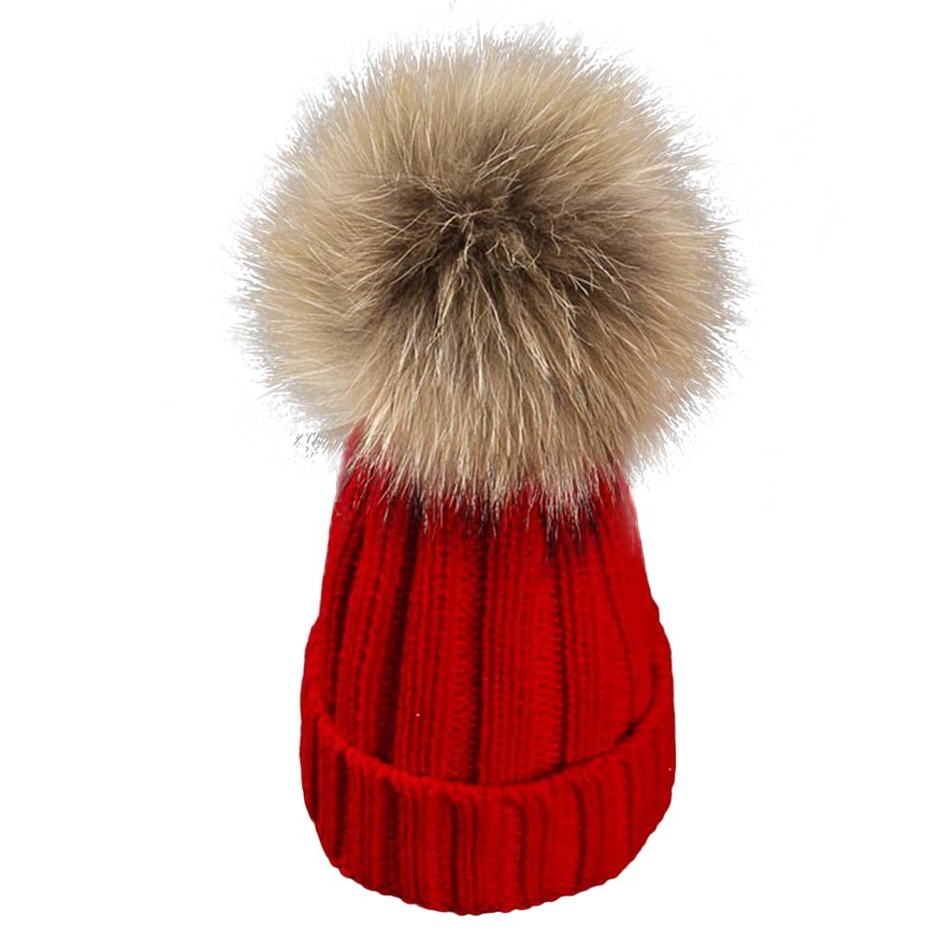 17 Cm Echten Waschbären Pelzmütze Baby Kinder Winter Frühling Warme Pom Pom Caps Casual Jungen Mädchen Kinder Häkeln Hüte Motorhaube
