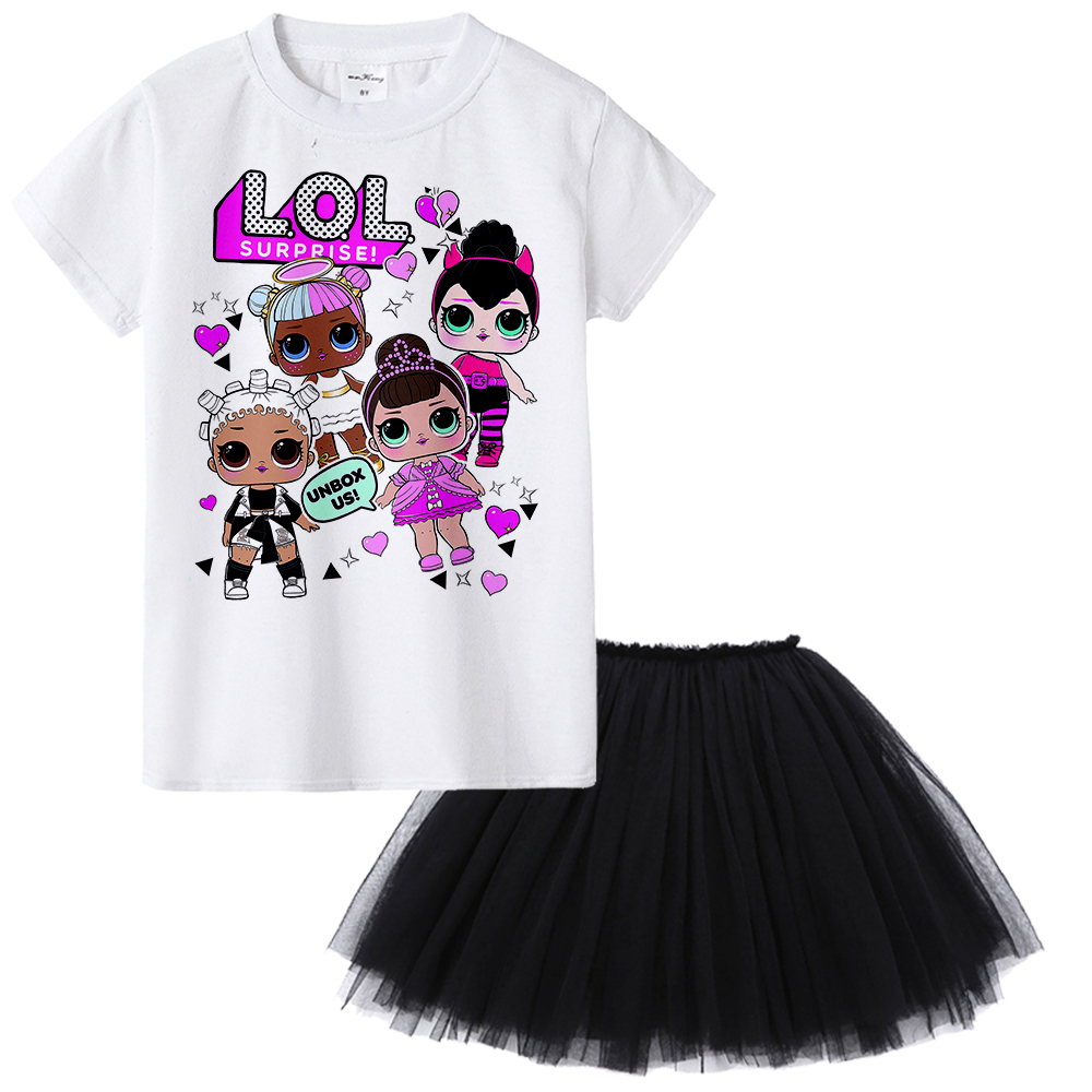 New Cartoon Doll Kids Girl Clothing Set Baby Girl T-shirt + Tutu Skirt Two Piece Suit Toddler Summer Outfit Children Clothing retail design children clothing set for kids girl dark blue cardigan t shirt pink skirt high quality 2014 new free shipping