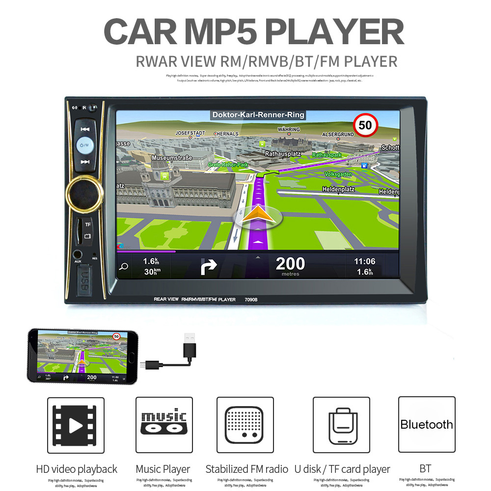 6.6 Inch 2 Din Auto Car Stereo MP5 Player Support Phone / Tablet Connected GPS with Bluetooth FM DVR for Android System