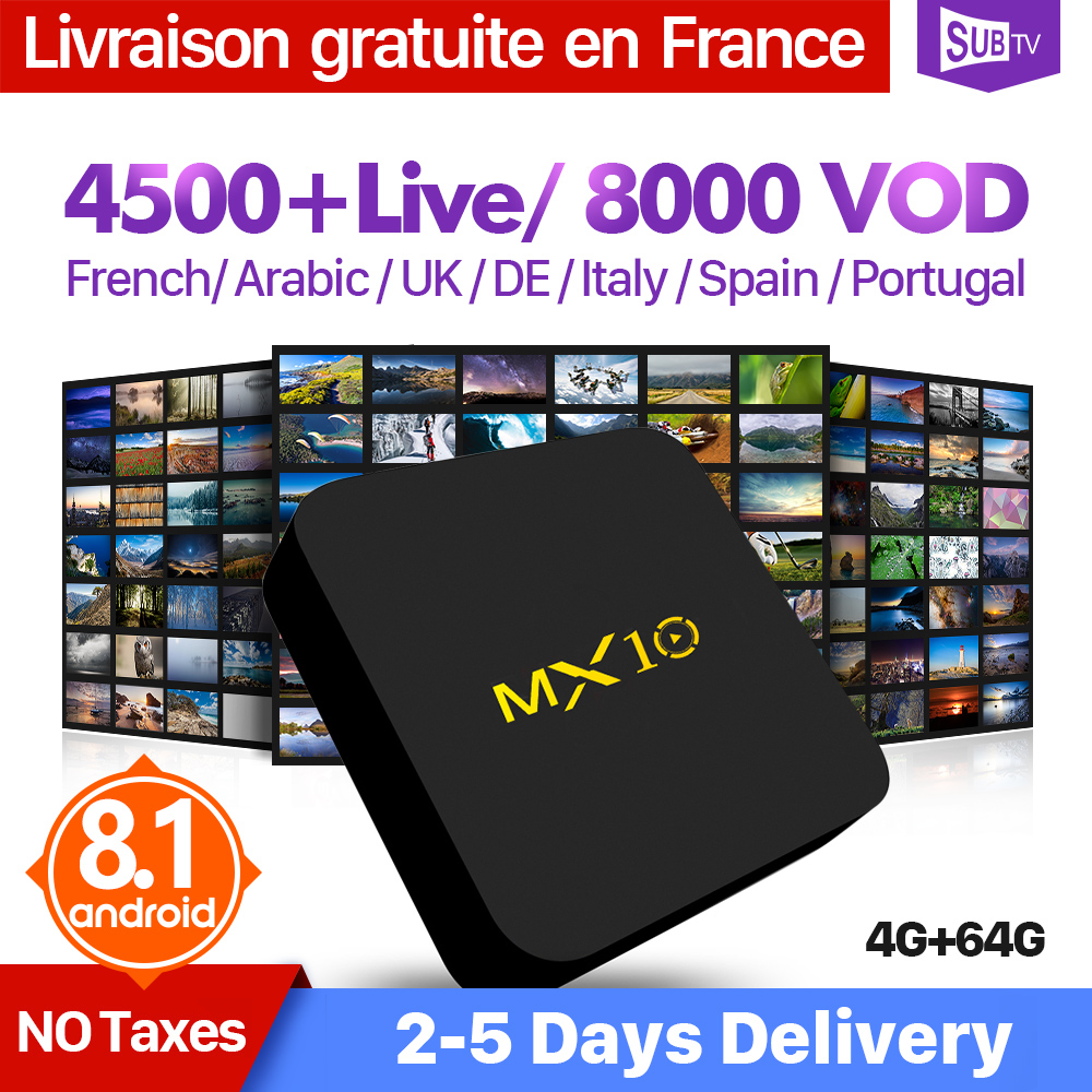 IPTV Francia Arabo Italia Paesi Bassi QHDTV IUDTV SUBTV MX10 4 + 64G Android 8.1 Svezia IPTV Codice Spagna Francese IP TV Abbonamento