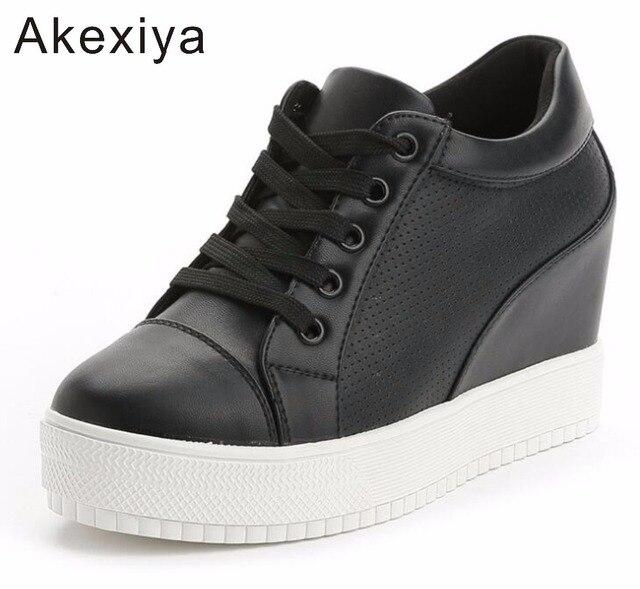 ginnastica corsa con pelle da spesse donna crescente vera scarpe zeppa nascosti vendita tacchi scarpe da suole calda Akexiya nuove piattaforma piattaforma q4Y7xX