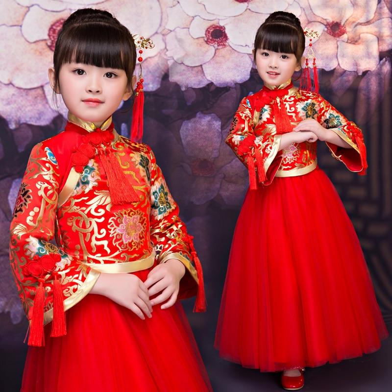 2018New Elegant Fashion Children Girls Chinese Red Qipao Princess Long Dress Kids Birthday Wedding New Year Festival Party Dress new arrival women s long cheongsam fashion chinese style rayon dress elegant slim qipao vestido size s m l xl xxl xxxl 1a3619