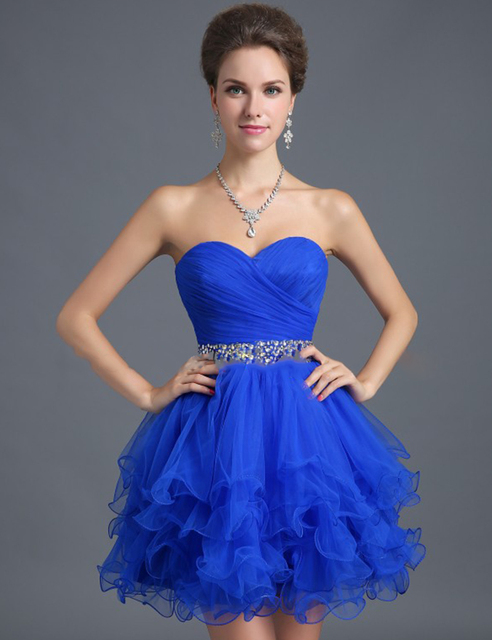 New Arrival  2016 Lovely Mini Princess Sleeveless Tulle Crystal Cocktail Dress Homecoming Dresses In Stock