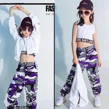 Ropa de fiesta Hip Hop para niños traje de baile para niñas sudadera  recortada camiseta Top Jogger pantalones Jazz salón de bail. a664bac0014