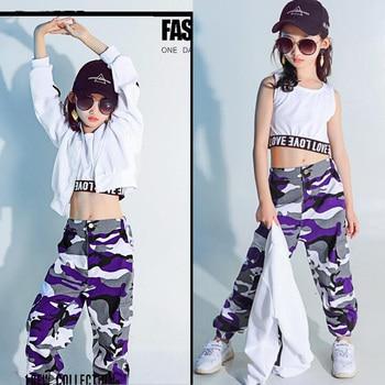 cd49c50569bd3 Ropa de fiesta Hip Hop para niños traje de baile para niñas sudadera  recortada camiseta Top Jogger pantalones Jazz salón de baile ropa de calle