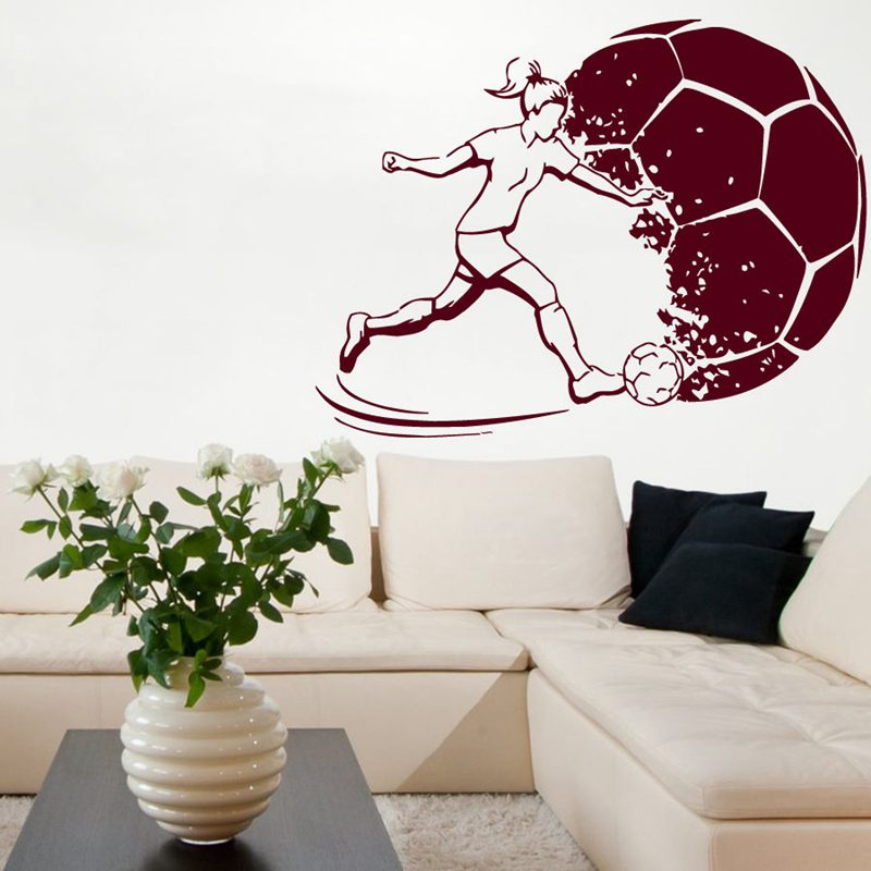 DCTAL Football Women Sticker Sports Soccer Decal Helmets Girl Kids Room Name Posters Vinyl Wall Decals Football Sticker
