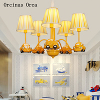 Cartoon Creative Car Chandelier Boys Bedroom Children's Room Light Modern Simple LED Yellow Truck Chandelier free shipping