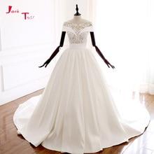 Jark Tozr 2019 New Arrive Bridal Gowns Vestido De Noiva Beading Appliques France Satin Illusion Wedding Dresses Casamento